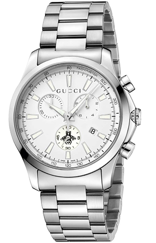 cb38d3fe77c Gucci G-Timeless Unisex   Men s 38mm White Dial With Stainless Steel ...