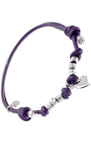 Klepsoo Heart - Violet String Silver Bracelet 123060-V