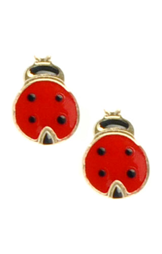 Klepsoo Ladybugs - Yellow Gold Earrings 178495