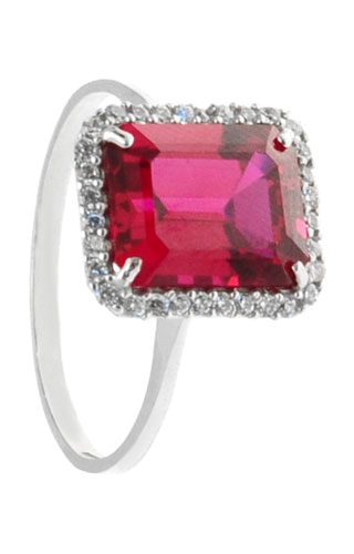Klepsoo Zircons and Red Stone - White Gold Ring 152048