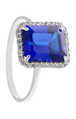 Klepsoo Zircons and Blue Stone - White Gold Ring 152049