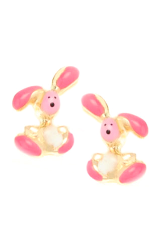 Klepsoo Rabbits - Yellow Gold Earrings 141172-F
