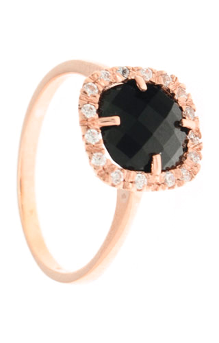 Klepsoo Zircons and Black Stone - Rose Gold Ring 180345-N