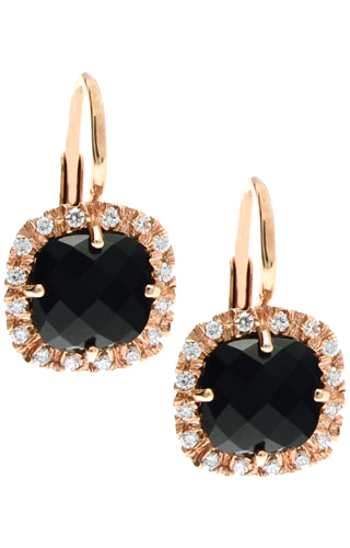 Klepsoo Zircons and Black Stones - Rose Gold Earrings 180365-N