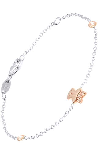 Klepsoo Teddy Bear - Rose White Gold Bracelet 187119